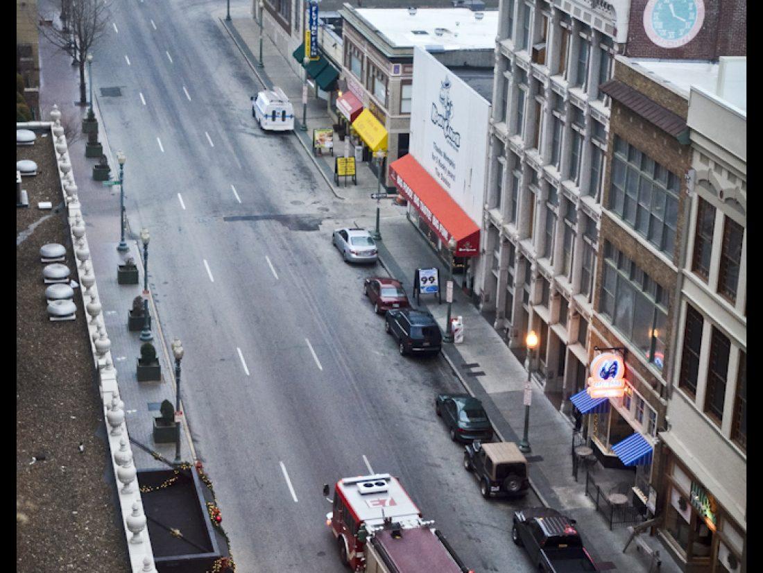 A firetruck in empty streets…